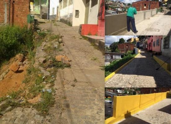 Rua Montes Claros, no Basílio, ganha obras de Contenção de encosta e recuperação a paralelos
