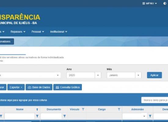 Portal da Transparência da Câmara de Ilhéus é modernizado