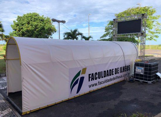 Faculdade de Ilhéus entrega túnel de desinfecção para uso do Centro de Triagem da Covid-19