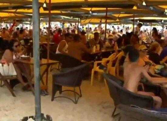 Morro de São Paulo tem praias cheias, 100% de ocupação nos hotéis e pessoas sem máscaras