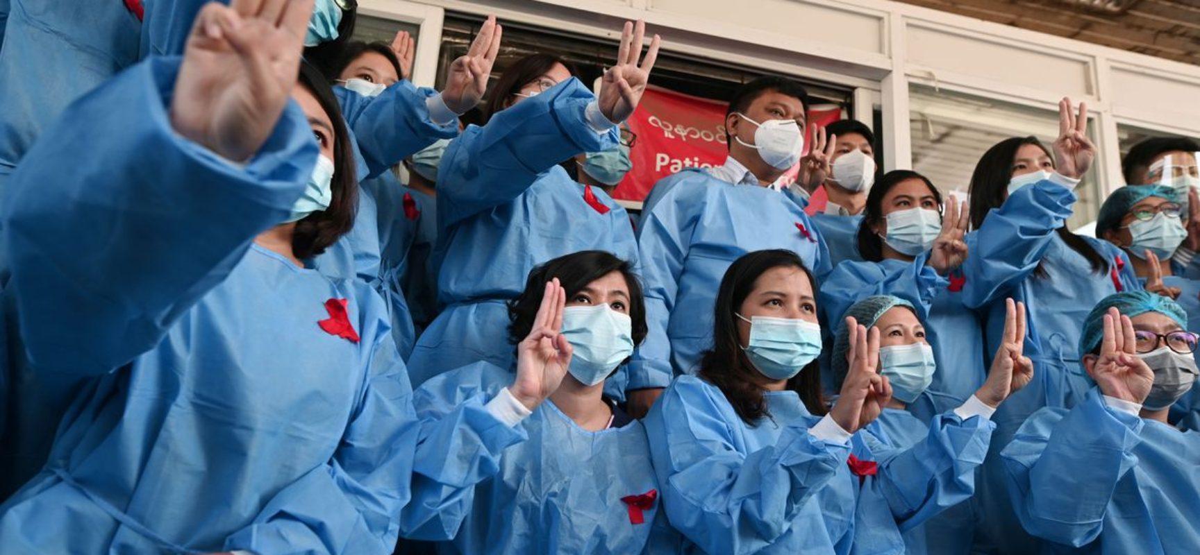 Profissionais de saúde protestam contra golpe de Estado em Myanmar