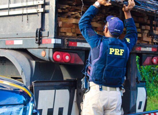 PRF apreende carga ilegal de madeira em Itabuna